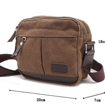 Men Vintage Canvas Crossbody Bag Messenger Retro Backpack Shoulder Bags