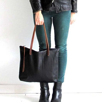Beautiful Black Leather Tote Bag with zipper , Laptop bag , leather book bag with brown or black leather straps