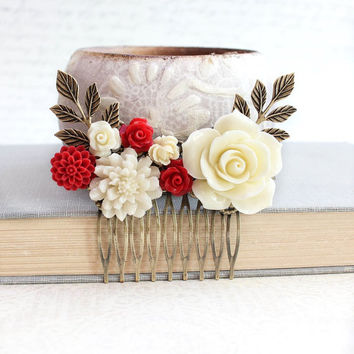 Red Rose Hair Comb Ivory Cream Rose Comb Romantic Winter Wedding Cranberry Red Flower Hair Jewelry Gothic Victorian Bridal Hair Piece