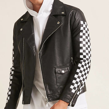 Checkered Faux Leather Jacket