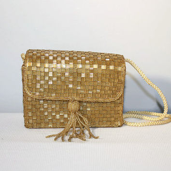Gold Beaded Magid Handbag, Vintage Box Purse Tassel, Evening Bag