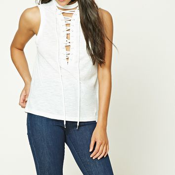Lace-Up Front Top