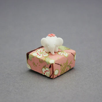 elephant figurine in origami box polymer clay totem tiny elephant white pink red