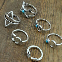 Vintage 6 Pcs Ring Set + gift box
