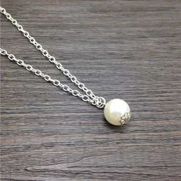 Long pearl necklace single pearl jewelry 12mm white pearl choker neckless silver plated chain necklace Christmas gift for friend