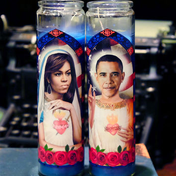 Saint Michelle and Barack Prayer Candles / Obamas / POTUS and FLOTUS