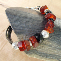 Genuine Baltic Amber Leather Bracelet - Brown Natural Amber Beads, Black Onyx, Sterling Silver on Black Leather Cord - OOAK
