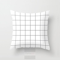 Decorative throw pillow cover, Black and white modern geometric grid decorative pillow cover, 18 inch. Double sided Print