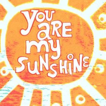 You Are My Sunshine Art Print. Mangoseed by Christina Rowe. Beach Decor For A Kids Room, Beach Baby Nursery, Beach House, Or Coastal Space.