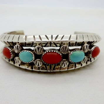 Navajo Sterling Silver Turquoise Red C Cuff Bracelet Hand Made Native American