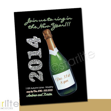 New Year's party invitation - New Years Eve Party invitation - silver glitter, Champagne Bottle - unique style - PRINTABLE INVITATION DESIGN