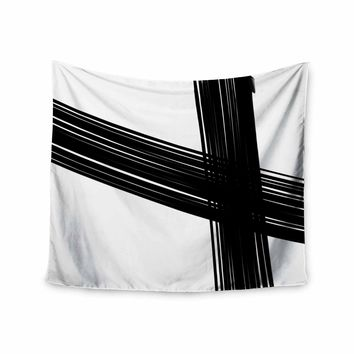 Cross Brush Strokes - Black White Abstract Watercolor Wall Tapestry