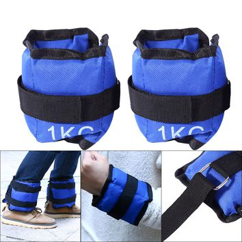 2pcs/pair 1-6kg Adjustable leg Ankle Wrist Iron Sand Bag Weights Straps Strength Training For Gym Fitness Yoga Running