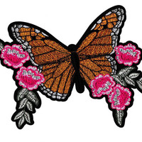 XXL Beautiful Extra Large 21cm Butterfly & Roses Flower Patch Badge Applique