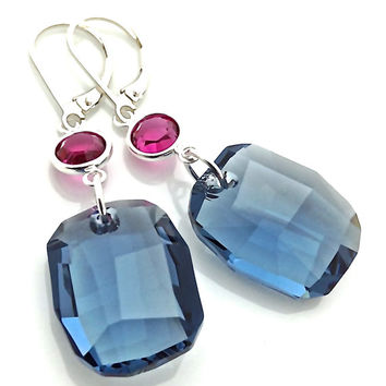 Large Crystal Pendant Earrings, Blue Glass Dangle, Chunky Crystal, Leverback Earrings, Sterling Silver, Navy Blue, 472