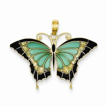14k Gold Aqua Stained Glass Wings Butterfly Pendant