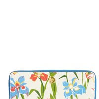 Tory Burch Robinson Iris Print Leather Zip Wallet | Nordstrom