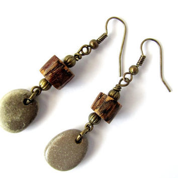 Stone Earrings Eco Friendly Reclaimed Wood Branch Wire Wrapped Beads River Rocks Beach Stones Wooden Jewelry by Hendywood