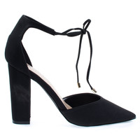 Rena13 Black By Breckelle's, Lace-Up D'Orsay Pump, Chunky Block High Heel, Pointed Toe, Open Side