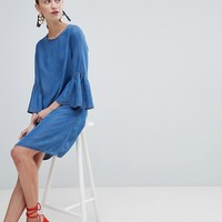 New Look Shift Dress with Ruffle Sleeve at asos.com