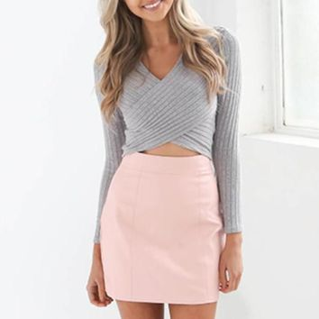 V-Neck Crisscross Solid Color Top Sweater