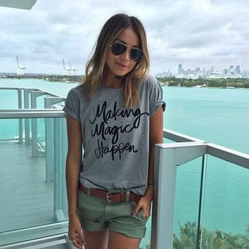 2016 Trending Fashion Floral Printed Women Round Necked Short Sleeve Alphabets Words T-Shirt Top