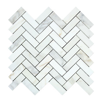 Calacatta Gold Marble Polished 1 x 3 Herringbone Mosaic Tile