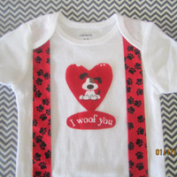 Boy red black suspender outfit, baby Valentie outfit, Red heart valentie shirt, I love puppie outfit, red black paw suspender shirt