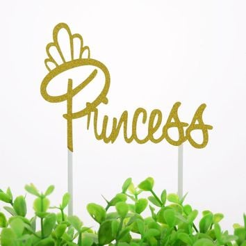 Cake Topper Flags Cupcake Princess Queen Girl Toppers Bride Kids Birthday Wedding Bridal Cake Wrapper Party Baking DIY Flag