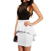 Black/White Crochet Peplum Dress