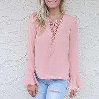 Cala Luna Pink Natasha Lace Up Top