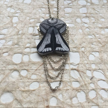 Clymene Moth Necklace with Chain Detail