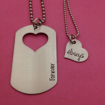 Hand Stamped Dog Tag With Heart Cut Out Forever Always Necklace Set Military Spouse His Hers Gift Dating