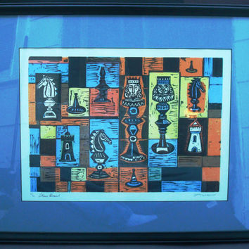 "Irving Amen ""Chess Board"" Original Colored Woodcut Signed & Numbered with COA. Mid Century Art"