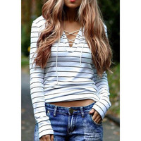 V-neck Lace-up Stripe Sweater