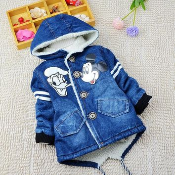 NYSRFZ Winter Warm Denim Coat for boys Children Hooded Long Jean Jackets Brand Kids mini mouse Thermal Overcoat Outerwear Q162