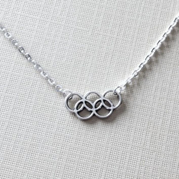 Olympic Rings Silver Necklace, London 2012, handmade jewelry