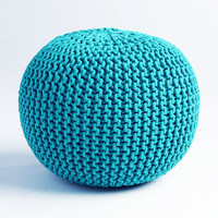 Cable Knit Pouf - Teal