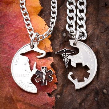 EMT Nurse Healthcare Professionals Couple BFF coin jewelry by Namecoins