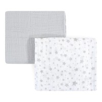 46'' x 46'' Gray Stars Muslin Swaddle Blanket - Set of Two