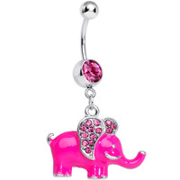 Pink Gem Glamorous Pink Elephant Dangle Belly Ring | Body Candy Body Jewelry