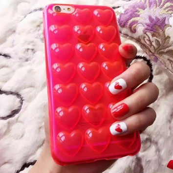 Heart bubble lovely red phone case for iphone 6 6s 6 plus 6s plus + Nice gift box 072702