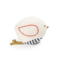 White bird organic baby rattle