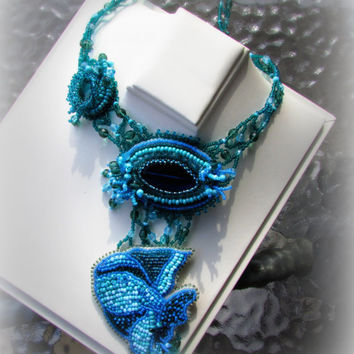 Unique design and one of the kind handmade bead embroidered blue color artisan jewelry statement necklace - Deep Blue Ocean