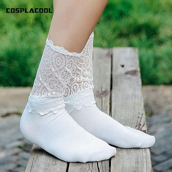 [COSPLACOOL] 2017 summer socks sexy women socks Solid color Light thin Harajuku Japan Lace edge Princess style black white