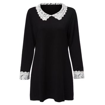 Stylish Peter Pan Collar Long Sleeve Spliced Loose-Fitting Women's Dress
