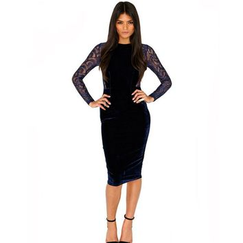 Olrain Women Sexy Evening Blue Lace Velvet Midi Bodycon Dress Party Pencil Dress