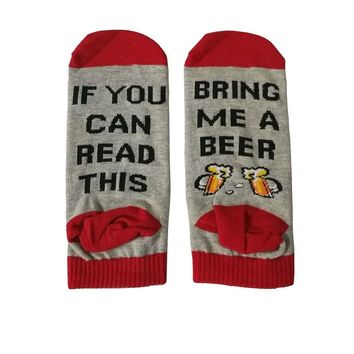 If You Can Read This Bring Me A Wine/Beer Humor Words Printed Socks Valentine Funny Socks Unisex Hip Hop Skateboard Sokken Gift