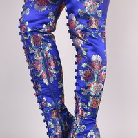 Bamboo Floral Buttons Accent Chunky Heeled Over-The-Knee Boots