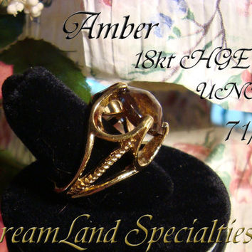 Amber Ring Vintage Jewelry Mid Century High Set Large Stone Signed PV